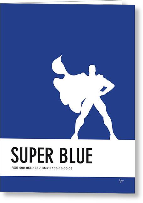 No23 My Minimal Color Code Poster Superman Greeting Card by Chungkong Art