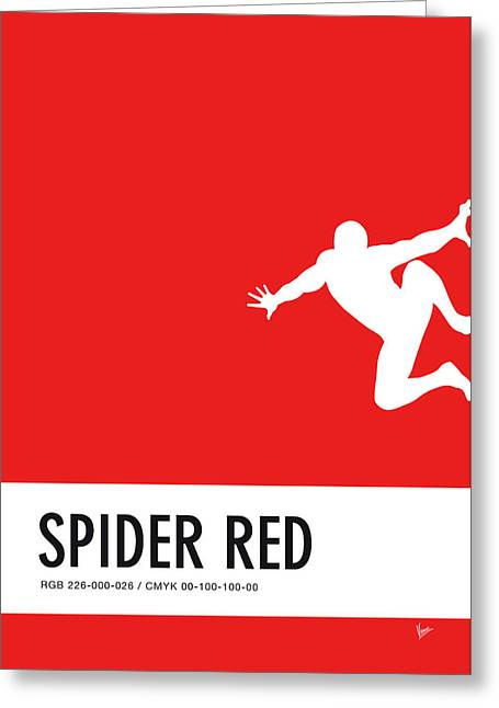 No24 My Minimal Color Code Poster Spiderman Greeting Card by Chungkong Art