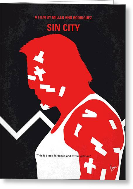 No304-1 My Sin City Minimal Movie Poster Greeting Card
