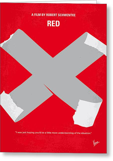 No495 My Red Minimal Movie Poster Greeting Card by Chungkong Art