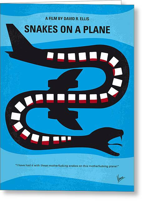 No501 My Snakes On A Plane Minimal Movie Poster Greeting Card by Chungkong Art