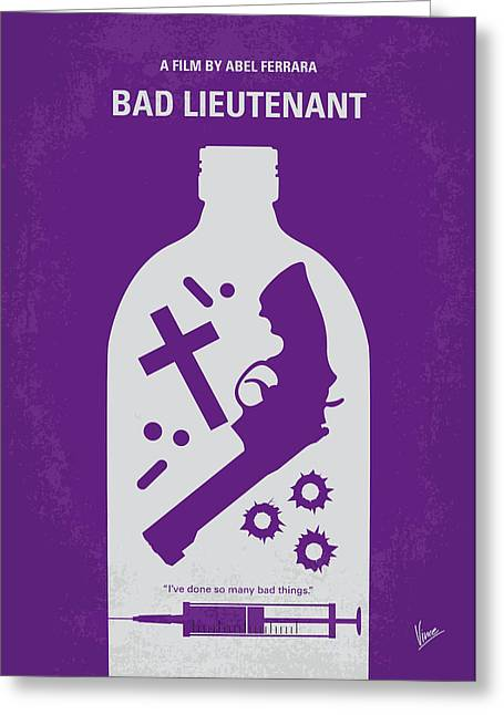 Bad News Greeting Cards - No509 My Bad Lieutenant minimal movie poster Greeting Card by Chungkong Art