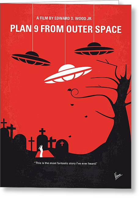 No518 My Plan 9 From Outer Space Minimal Movie Poster Greeting Card by Chungkong Art