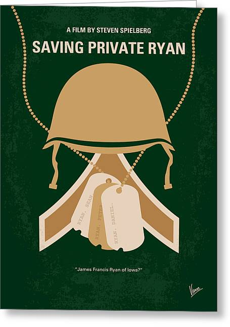 No520 My Saving Private Ryan Minimal Movie Poster Greeting Card by Chungkong Art