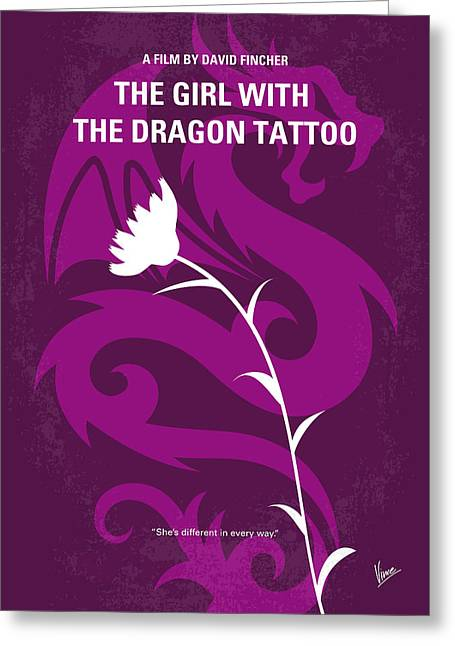 No528 My The Girl With The Dragon Tattoo Minimal Movie Poster Greeting Card by Chungkong Art
