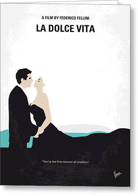 No529 My La Dolce Vita Minimal Movie Poster Greeting Card