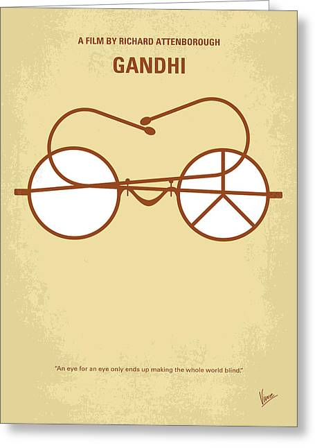 No543 My Gandhi Minimal Movie Poster Greeting Card by Chungkong Art