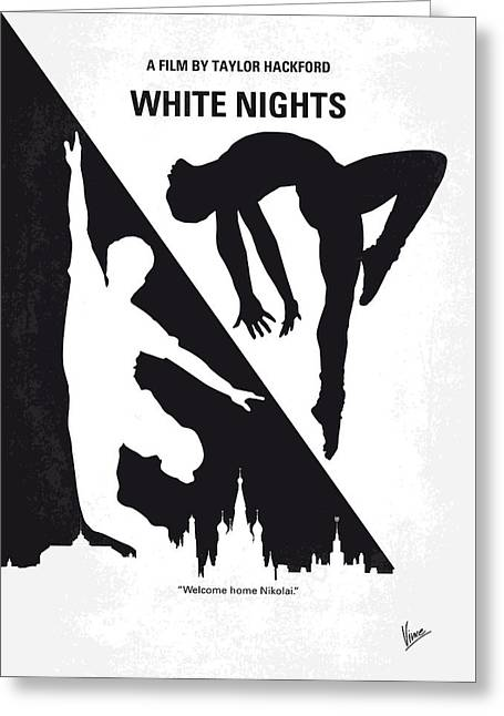 No554 My White Nights Minimal Movie Poster Greeting Card