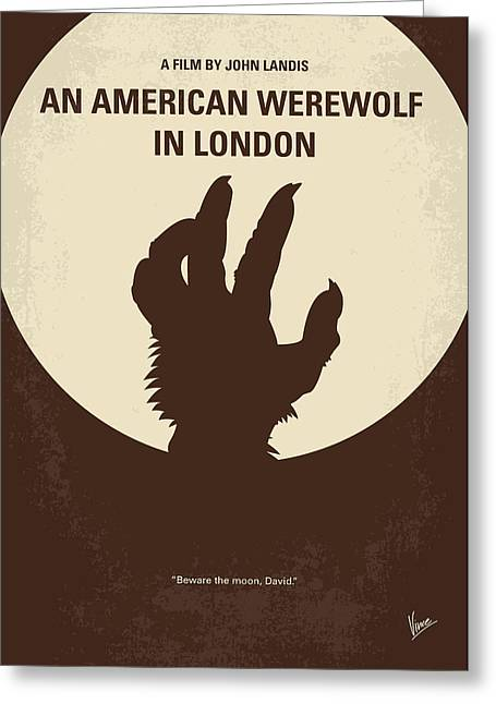 No593 My American Werewolf In London Minimal Movie Poster Greeting Card by Chungkong Art