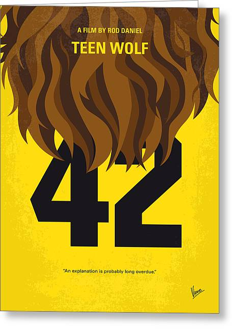 No607 My Teen Wolf Minimal Movie Poster Greeting Card