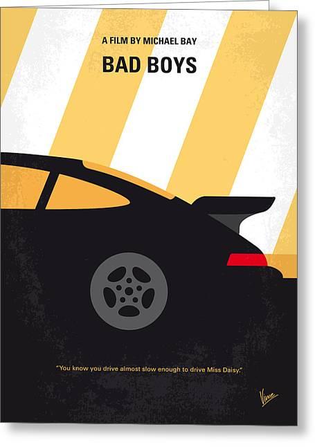 No627 My Bad Boys Minimal Movie Poster Greeting Card