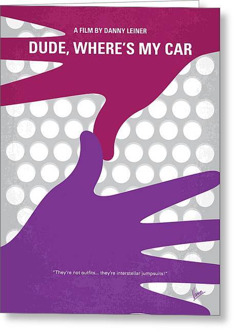No654 My Dude Wheres My Car Minimal Movie Poster Greeting Card