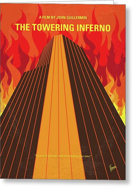 No665 My The Towering Inferno Minimal Movie Poster Greeting Card