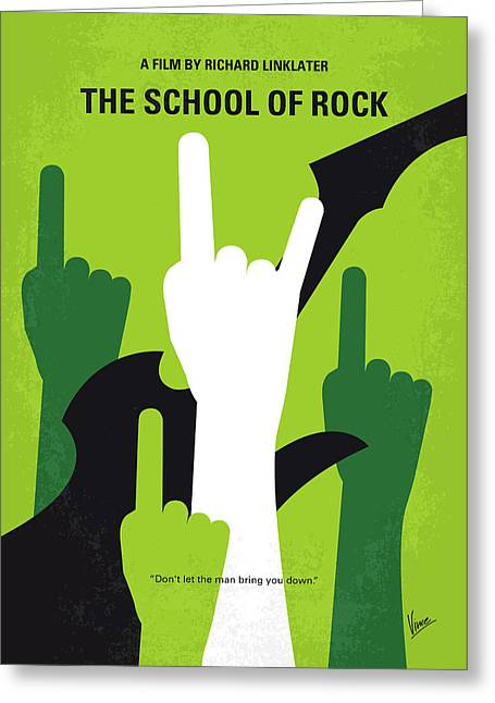No668 My The School Of Rock Minimal Movie Poster Greeting Card