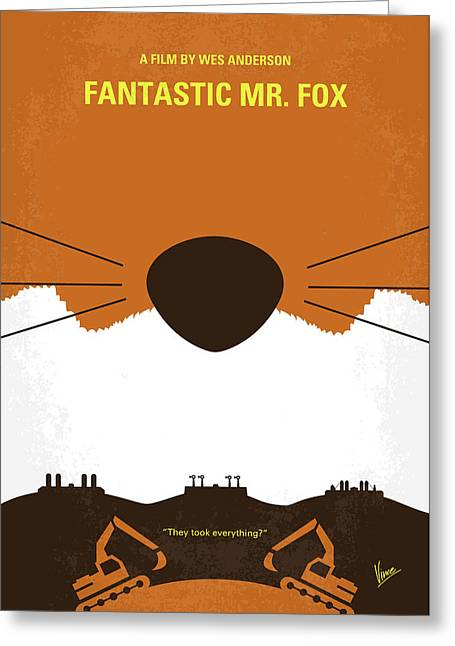 No673 My Fantastic Mr Fox Minimal Movie Poster Greeting Card