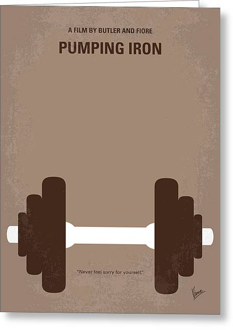 No707 My Pumping Iron Minimal Movie Poster Greeting Card by Chungkong Art
