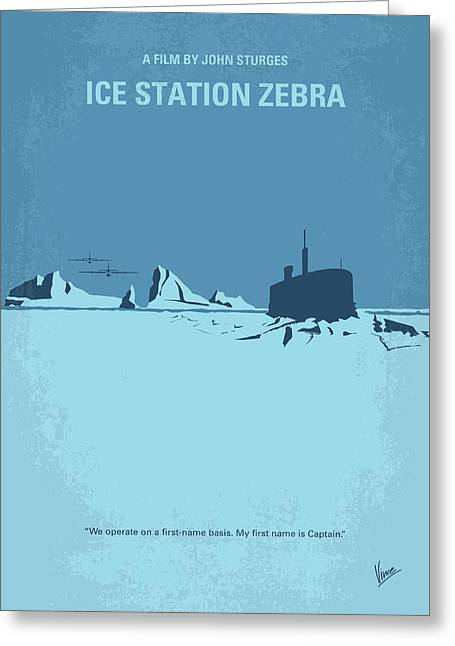 No711 My Ice Station Zebra Minimal Movie Poster Greeting Card by Chungkong Art