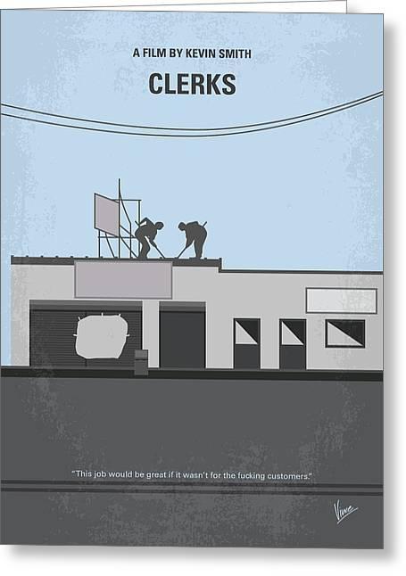 No715 My Clerks Minimal Movie Poster Greeting Card by Chungkong Art