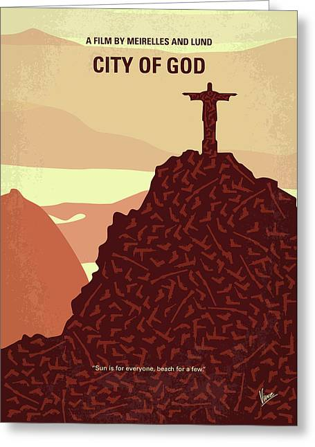 No716 My City Of God Minimal Movie Poster Greeting Card by Chungkong Art