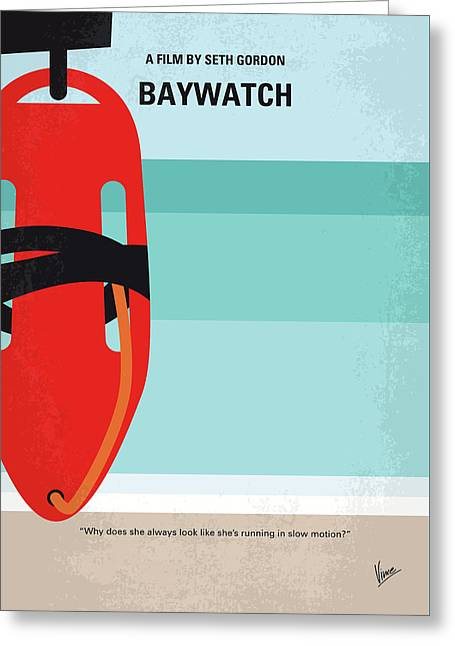 No730 My Baywatch Minimal Movie Poster Greeting Card