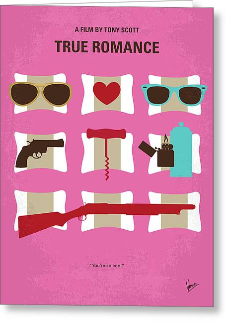 No736 My True Romance Minimal Movie Poster Greeting Card by Chungkong Art