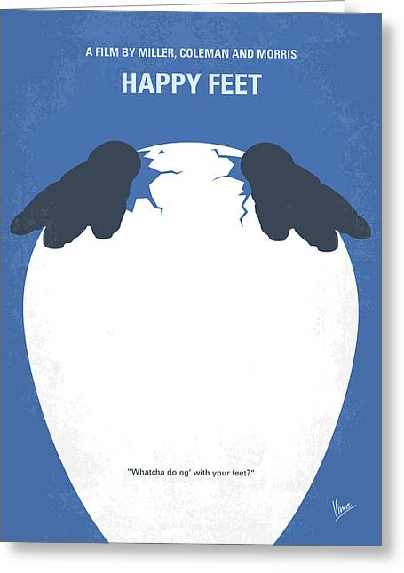 No744 My Happy Feet Minimal Movie Poster Greeting Card