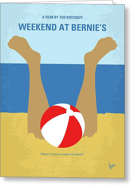 Greeting Card featuring the digital art No765 My Weekend At Bernies Minimal Movie Poster by Chungkong Art