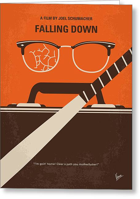 Greeting Card featuring the digital art No768 My Falling Down Minimal Movie Poster by Chungkong Art