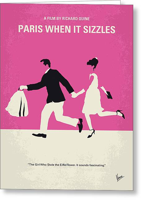 No785 My Paris When It Sizzles Minimal Movie Poster Greeting Card by Chungkong Art