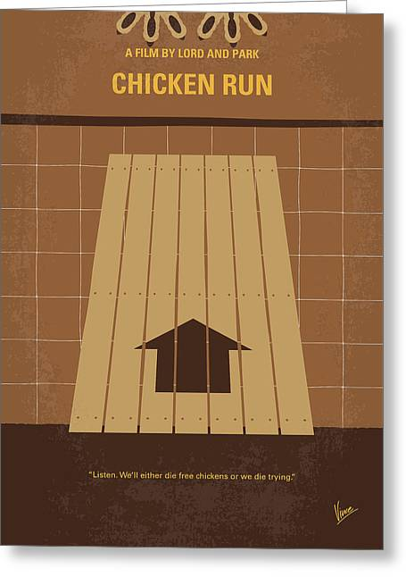 No789 My Chicken Run Minimal Movie Poster Greeting Card by Chungkong Art