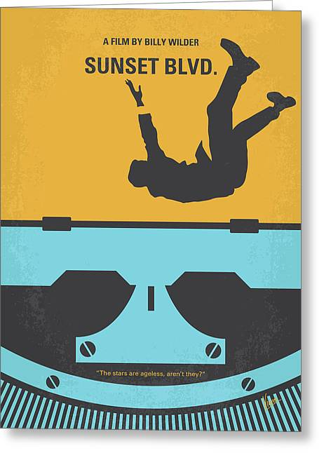 No813 My Sunset Blvd Minimal Movie Poster Greeting Card
