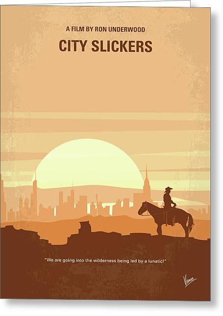 No821 My City Slickers Minimal Movie Poster Greeting Card