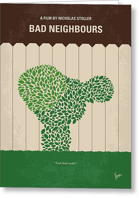 No840 My Bad Neighbours Minimal Movie Poster Greeting Card