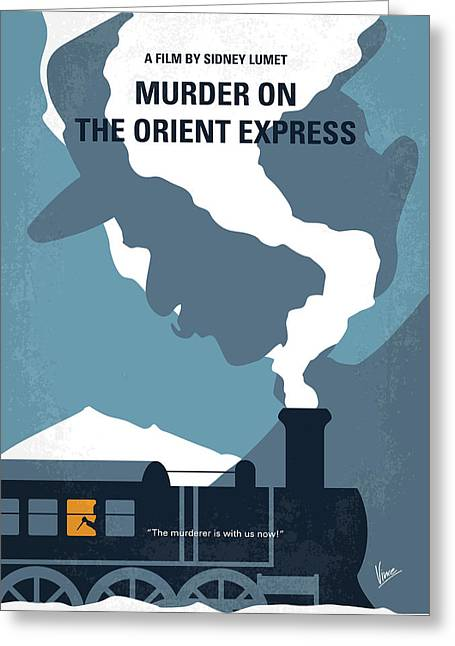 No883 My Murder On The Orient Express Minimal Movie Poster Greeting Card