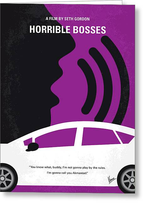 No892 My Horrible Bosses Minimal Movie Poster Greeting Card
