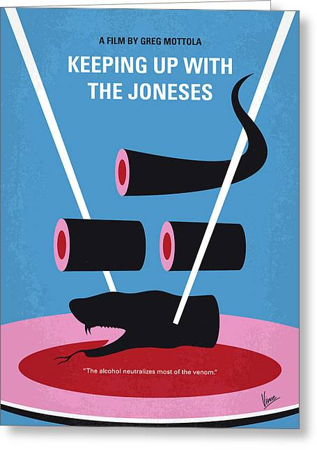 No922 My Keeping Up With The Joneses Minimal Movie Poster Greeting Card