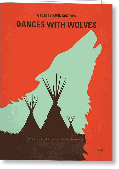 No949 My Dances With Wolves Minimal Movie Poster Greeting Card