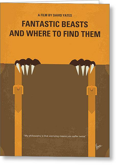 No962 My Fantastic Beasts And Where To Find Them Minimal Movie Poster Greeting Card
