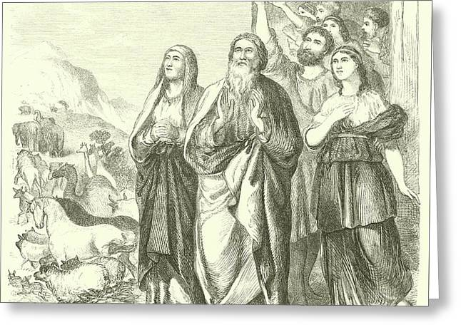 Noah And His Family Leaving The Ark, Genesis, Viii, 16 Greeting Card by English School