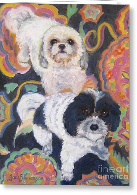 Noah And Kobe Greeting Card by Jane  Simonson