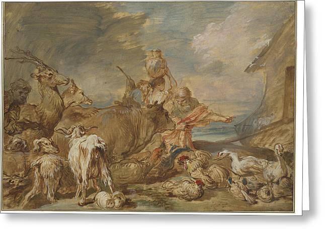 Noah Leading The Animals Into The Ark Greeting Card by Giovanni Benedetto Castiglione