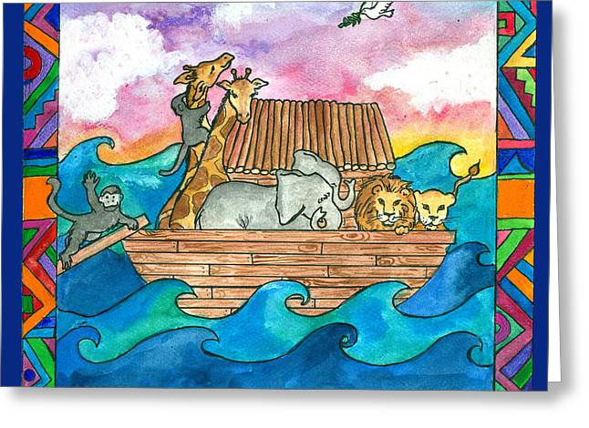 Noah's Ark Greeting Card by Pamela  Corwin