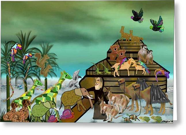 Noah's Ark Greeting Card by Sher Magins