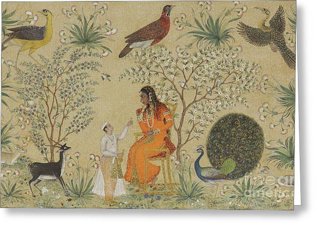 Noble Woman In A Garden Greeting Card by Mughal School