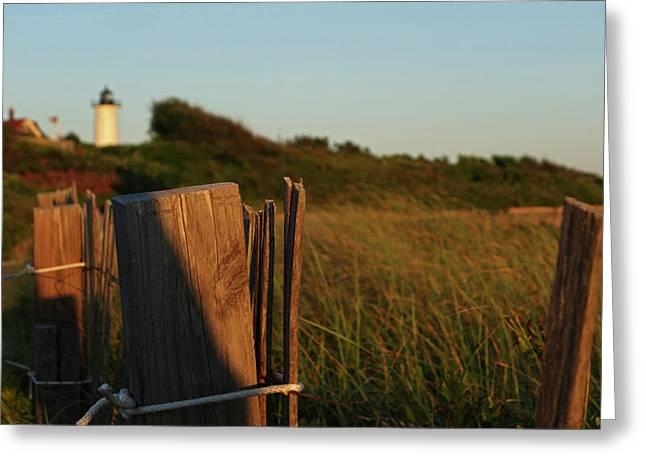 Nobska Light Cape Cod Falmouth Ma Wooden Fence Greeting Card