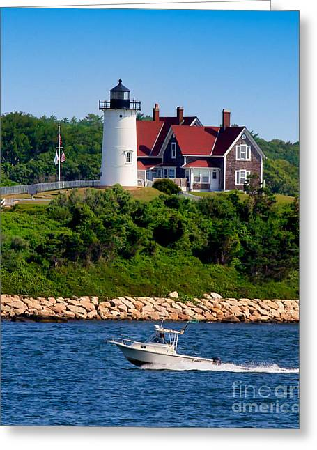 Nobska Point Light Greeting Card by Mark Miller