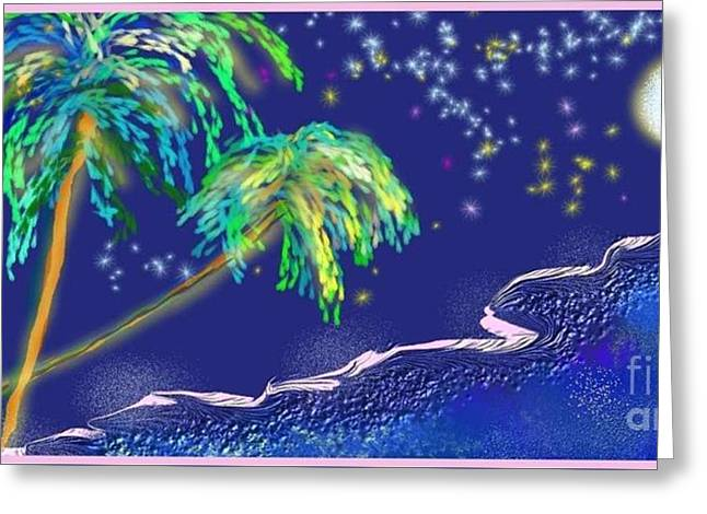 Greeting Card featuring the painting Noche Tropical by The Art of Alice Terrill
