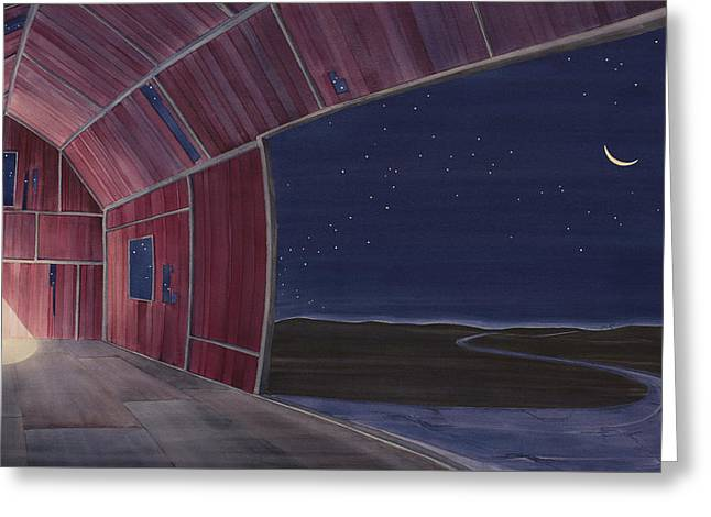 Nocturnal Barnscape Greeting Card by Scott Kirby
