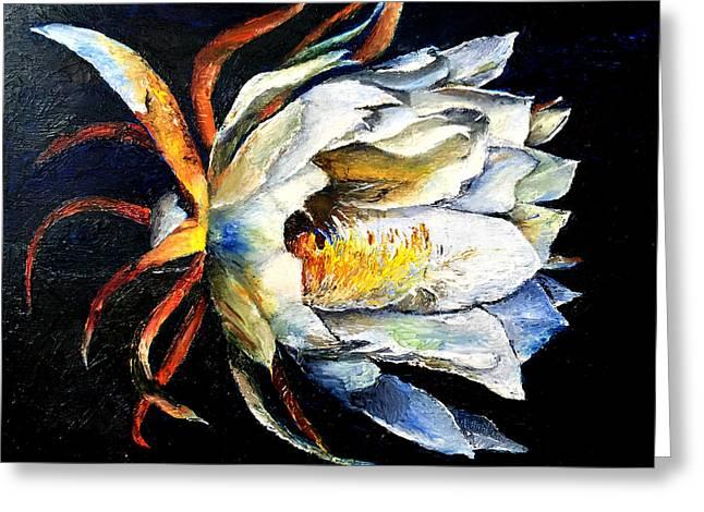 Nocturnal Desert Blossom Greeting Card