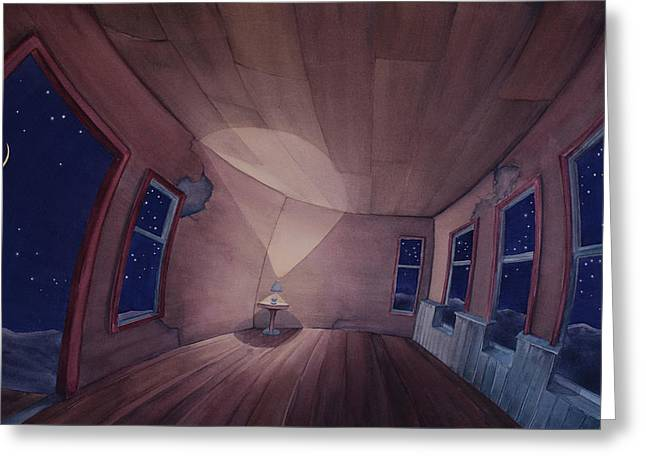 Greeting Card featuring the painting Nocturnal Interior by Scott Kirby